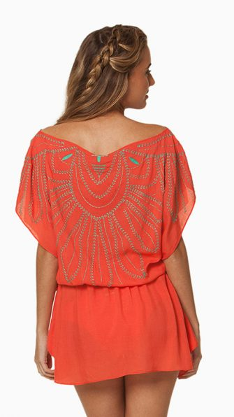 Solid Peach Butterfly Caftan BACK