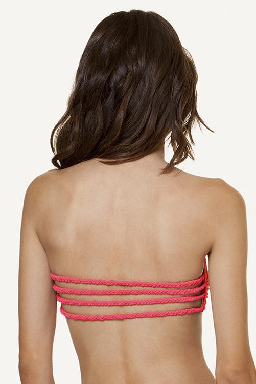 Solid Pink Braid Bandeau BACK