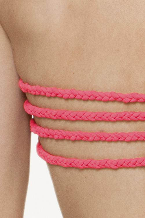 Solid Pink Braid Bandeau BACK DETAIL