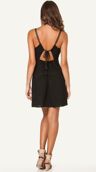 Solid Black Trim Dress BACK