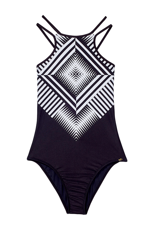 Geometric Diamond Embroidered One Piece FLAT