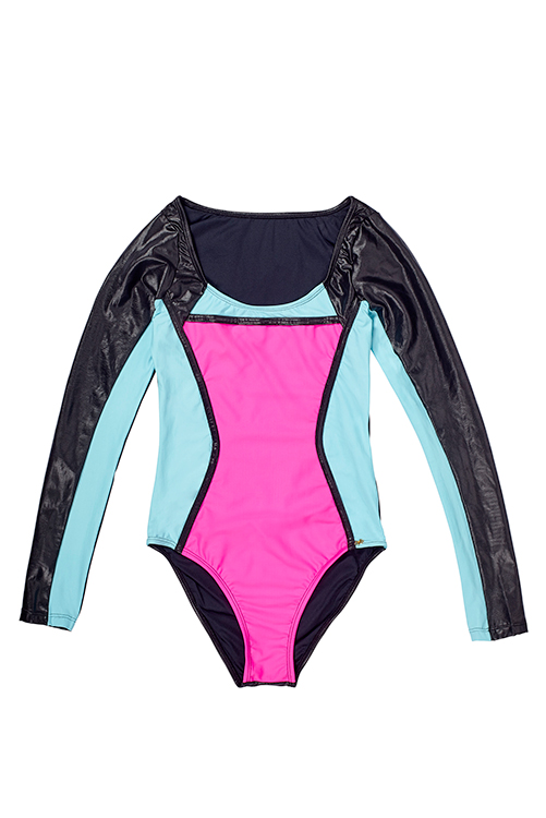 Neo Color Block Long Sleeve One Piece FLAT