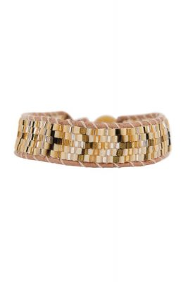 Feather and Gold Mix Leather Beaded Bracelet