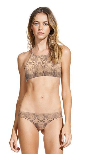 Snake Skin High Neck Halter Bikini