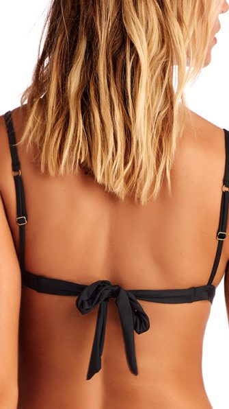 Eco Black Stella Tie Back Top BACK