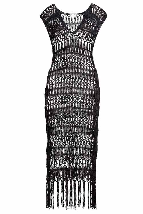 Midnight Raven Crochet Tunic Dress ISOLATED