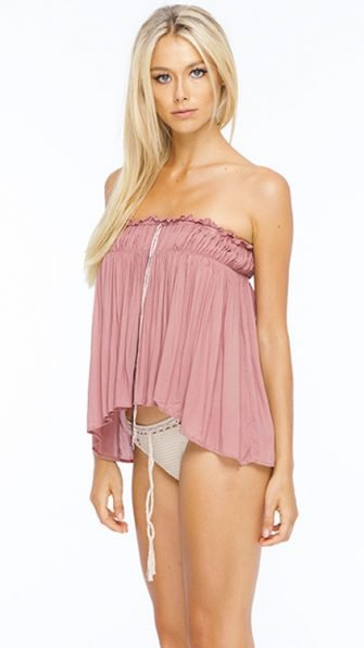 Dusty Rose Mary Strapless Flounce Top SIDE