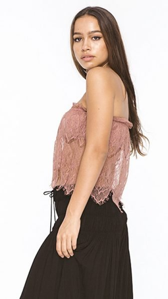 Dusty Rose Star Antique Lace Top SIDE
