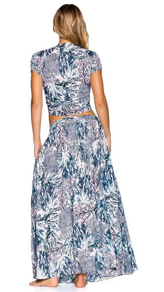 Coconut Milk Crop Top Sparkling Ocean Long Skirt ALT