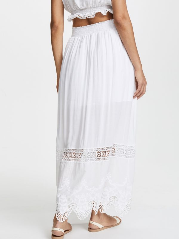 maxi skirt in solid white by peixoto bum