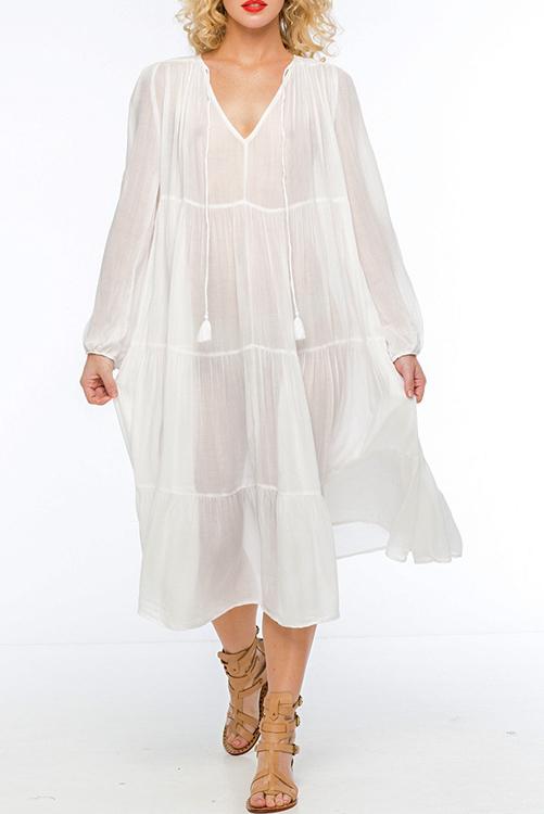 Belladonna Tiered Tea Length Dress ALT