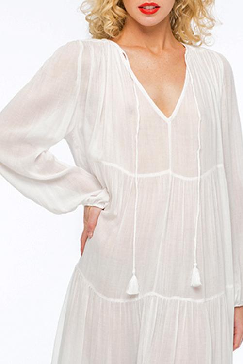 Belladonna Tiered Tea Length Dress DETAIL