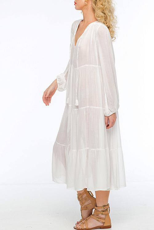 Belladonna Tiered Tea Length Dress SIDE