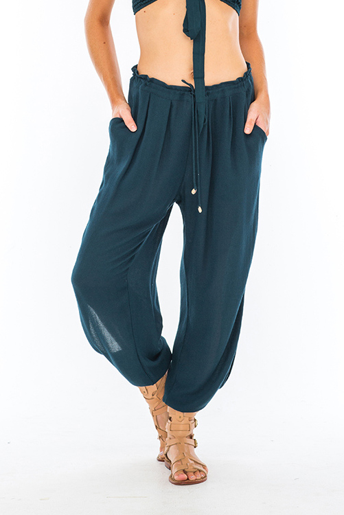 Teal Alligator Side Slit Pant