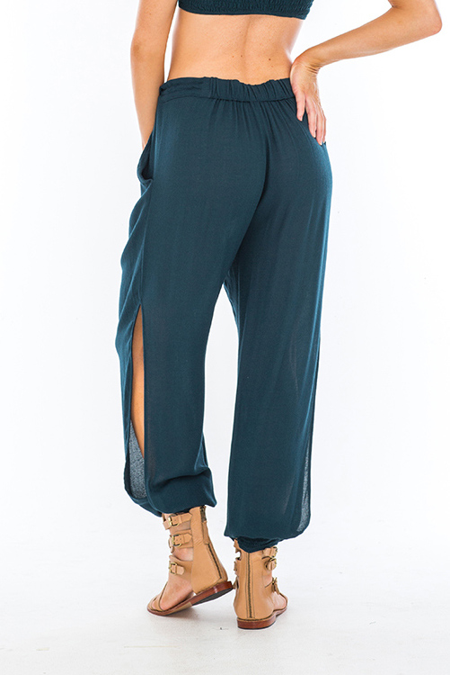 Teal Alligator Side Slit Pant BACK