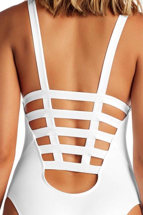White Ecolux Neutra Maillot Bodysuit BK DETAIL