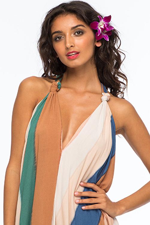 Beach Stripe Nammos Kaftan Dress DETAIL