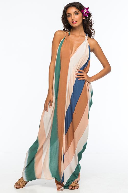 Beach Stripe Nammos Kaftan Dress