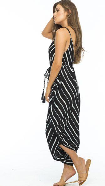 Black Stripe Ivory Jumpsuit ALT