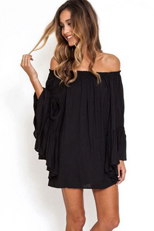 Black Kamani Ruffle Dress